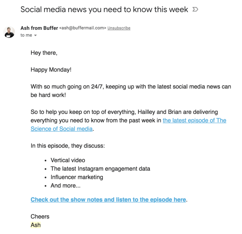 Buffer Podcast Email Example