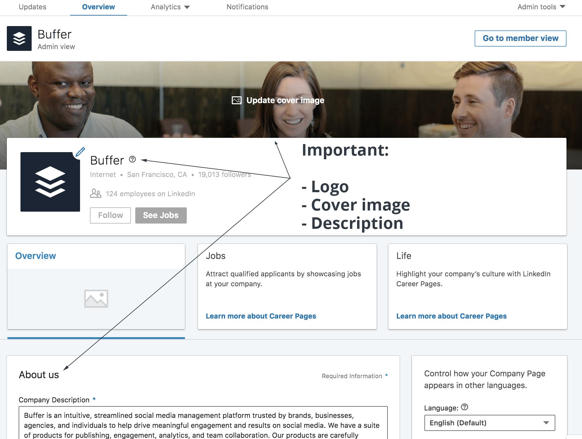 LinkedIn Marketing Strategy - Company Page Information