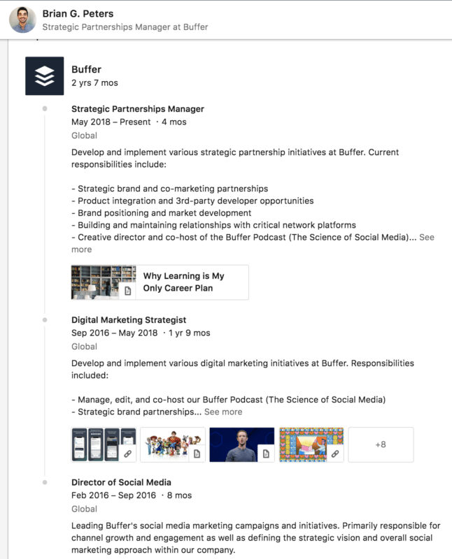 Linkedin Marketing Profile Page Details