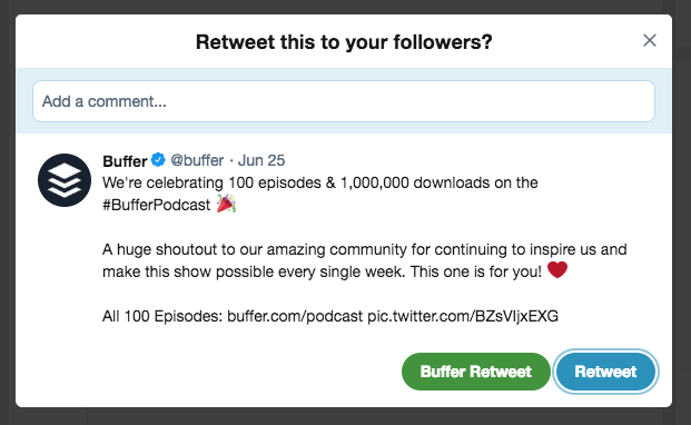 Retweet to followers